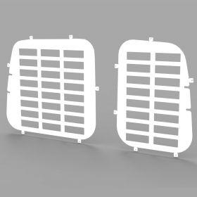 VW Caddy and Maxi 2004 Onwards Rear Door Window Guard Grilles in White-PAIR