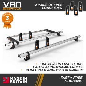 Mercedes Vito Roof Rack, (L2/L3/H1)-2004 On-2x Roof Bars Vecta Bars + Rear Roller
