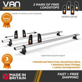 Renault Trafic Roof Bars 2014 Onwards - All Low Roof H1 Models- 2 x Aluminium Van Roof Bars and Free Load Stops - Vecta Bar By Hubb Systems