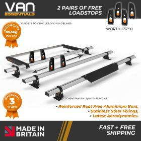 Renault Trafic Roof Bars 2014 On Low Roof 3x Roof Bars Vecta Bars + Rear Roller + FREE LOADSTOPS