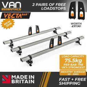 Fiat Scudo Roof Rack (L1) SWB 2006 On-3x Roof Bars Vecta Bars by Hubb Systems
