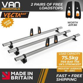Nissan Primastar Roof Bars 2002 Up To 2014 - All High Roof H2 Models- 3 x Aluminium Van Roof Bars and Free Load Stops - Vecta Bar By Hubb Systems